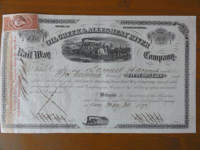 """Akcie """"The Oil Creek & Allegheny River Rail Way, r. 1870, VZÁCNÁ/Kolek"""