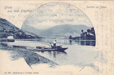 Zálezly Ústí nad Labem údolí Labe LOĎKA KOLÁŽ DA cca 1900