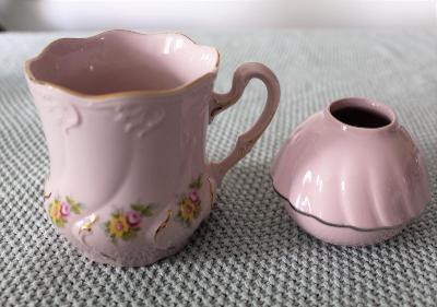 Růžový porcelán, hrnek, buclák výška cca 9,5 cm, malý svícen