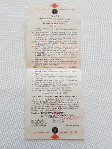 Návod záručák stará kuchyňská váha Jiva Kovozávod Semily 1979