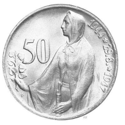 Stříbrná mince 50 Kčs SNP 3. výročí 1947