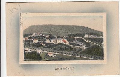 Konstantinovy Lázně Tachov pohled z výšky PLASTICKÝ RÁMEČEK cca 1910