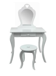 Dětský toaletní stolek pro princezny s židlíčkou bílý