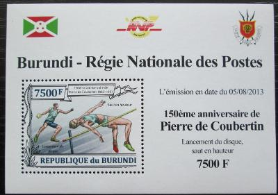 Burundi 2013 Olympijské hry, Pierre Coubertin Mi# 3192 Block 2164