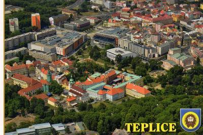 lázeňské město Teplice - letecký pohled,  erb