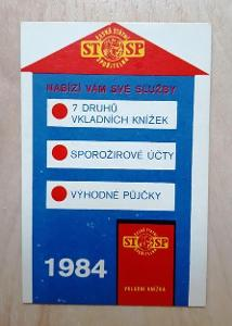 Kapesní kalendářík firemní - Česká státní spořitelna, rok 1984