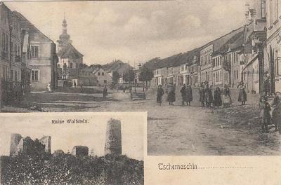 Černošín Stříbro Tachov dva záběry Volfštejn zřícenina hradu cca 1908