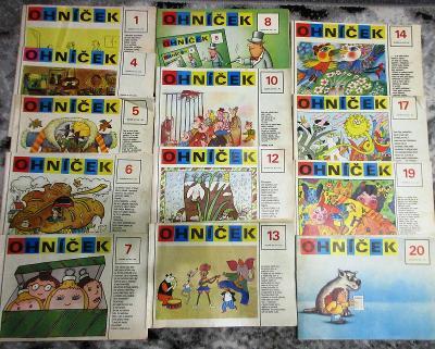 Ohníček 25 čísel časopisu vyd. 1988-9 , nekompletní ročníky 38 a 39.