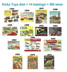 Katalogy DINKY TOYS 1955 - 1971 - 14 katalogů - 365 stránek