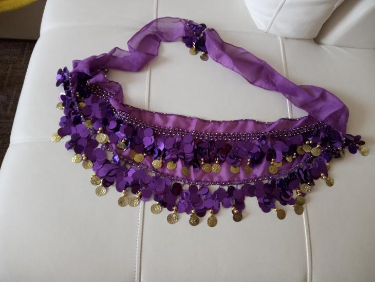 Šátek s penízky na bříšní tanec 160 cm fialový nové - Módní doplňky