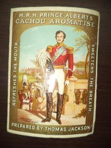 Stará papírová reklama - samolepa - H.R.H. PRINCE ALBERTS CACHOU AROMA