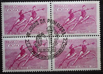 =SPORT- BRASILIE, 1955. SPEC Razítko, 4BLOK, VYPRODEJ od 1,-  / B-897