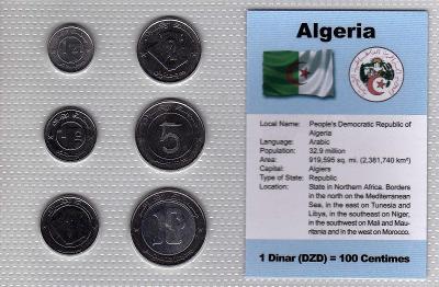 ALŽÍRSKO: nekompletní sada 6 mincí 1/4 - 10 dinars 1992  UNC v blistru