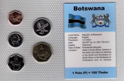 BOTSWANA: nekompletní sada 5 mincí 5 thebe -1 pula 1991  UNC v blistru