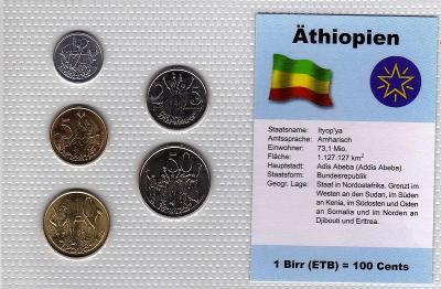 ETIOPIE: nekompletní sada 5 mincí 1-50 santeem 1969  UNC v blistru