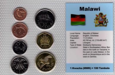 MALAWI: nekompletní sada 7 mincí 1 tambala-1 kwach 1995  UNC v blistru