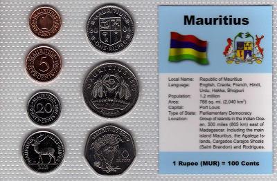MAURITIUS: nekompl. sada 7 mincí 1 cent-10 rupees1987  UNC v blistru
