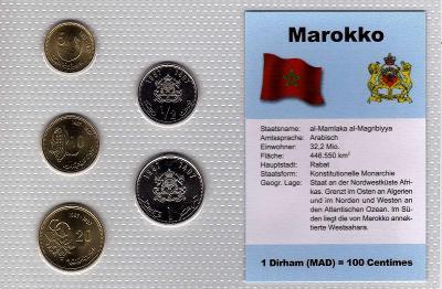 MAROKO: nekompl. sada 5 mincí 5 centimes-1 dirham 1987  UNC v blistru