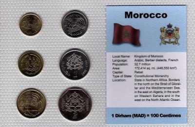 MAROKO: nekompl. sada 6 mincí 5 centimes-2 dirham 2002  UNC v blistru