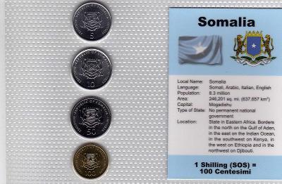 SOMÁLSKO: nekompl. sada 4 mincí 5-100 scellini 2000-02 UNC v blistru