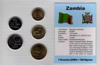 ZAMBIE: kompletní sada 5 mincí 25 ngwee-10 kwacha 1992 UNC v blistru