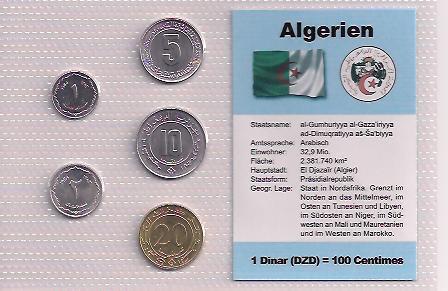 ALŽÍRSKO: nekompletní sada 5 mincí 1-20 centimes 1964  UNC v blistru