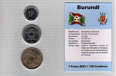 BURUNDI: nekompletní sada 3 mincí 1-10 centimes 1980+93  UNC v blistru