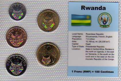 RWANDA : kompletní sada 5 mincí 1-50 francs 1977-87 UNC v blistru