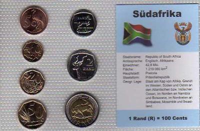 JIŽNÍ AFRIKA: kompletní sada 7 mincí 0,05-5 rand 2005 UNC v blistru