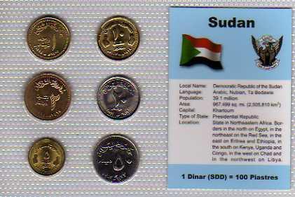SÚDÁN: nekompletní sada 6 mincí 1-50 dinars 1994-2003 UNC v blistru