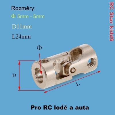 Kardanová - kloubová spojka 5mm-5mm - Nerezová ocel