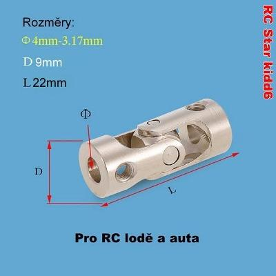 Kardanová - kloubová spojka 4mm-3,17mm - Nerezová ocel
