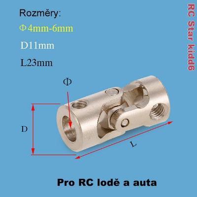 Kardanová - kloubová spojka 4mm-6mm - Nerezová ocel
