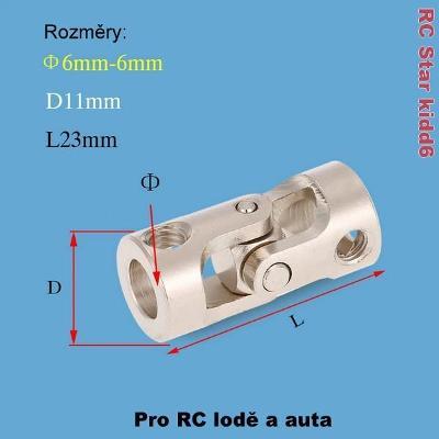 Kardanová - kloubová spojka 6mm-6mm - Nerezová ocel