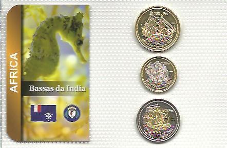 BASSAS DA IND: nekompl. sada 3 mincí 100-500 francs 2013 UNC v blistru