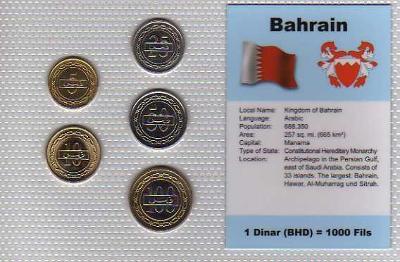BAHRAJN: kompletní sada 5 mincí  5-100 fils1992-97 UNC v blistru