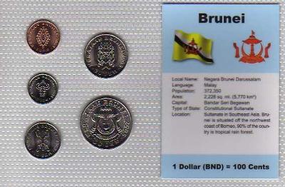 BRUNEJ: kompl. sada 5 mincí  1-50 sen 2004 UNC v blistru