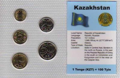 KAZACHSTÁN: nekompl. sada 5 mincí 1-50 tenge 1997+2000 UNC v blistru