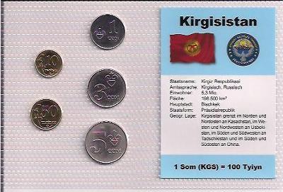 KYRGYZSTÁN: nekompletní sada 5 mincí 1 tyin-5 som 2008 UNC v blistru