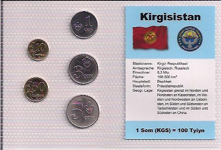 KYRGYZSTÁN: nekompletní sada 5 mincí 1 tyin-5 som 2008 UNC v blistru - Numismatika