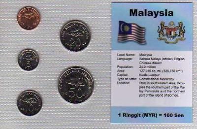 MALAJSIE: nekompletní sada 5 mincí 1-50 sen 2005 UNC v blistru