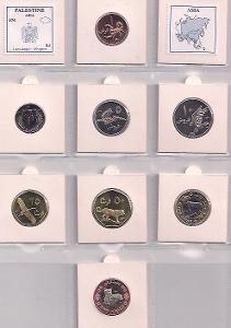 PALESTINA: kompletní sada 8 mincí 1 fils-2 dinars 2010 UNC v blistru