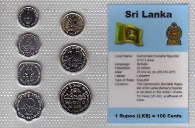 SRI LANKA: kompletní sada 7 mincí 1 cent-1 rupee 1978  UNC v blistru