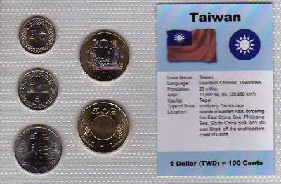 TCHAJWAN: nekompletní sada 5 mincí 1-50 yuan 1981-05 UNC v blistru