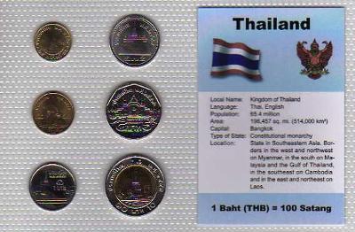 THAJSKO: nekompletní sada 6 mincí 25 satang-10 baht 1987 UNC v blistru
