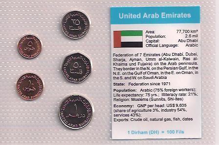 EMIRÁTY: nekompletní sada 5 mincí 5 fils-1 dirham 1995 UNC v blistru