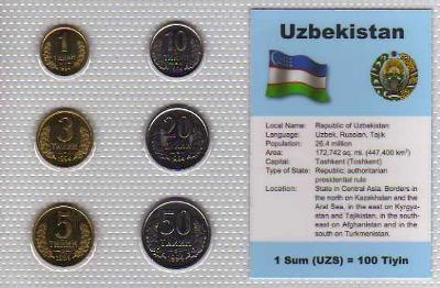 UZBEKISTÁN: nekompletní sada 6 mincí 1-50 tyin 1994 UNC v blistru