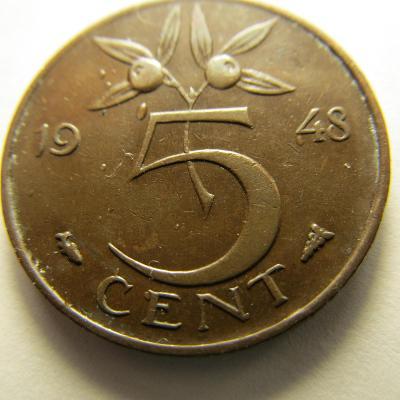 Nizozemsko - 5 cent z roku 1948