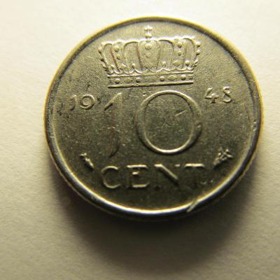 Nizozemsko - 10 cent z roku 1948