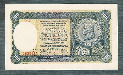 Slovensko 100 sk 1940 serie B3 perf. stav UNC